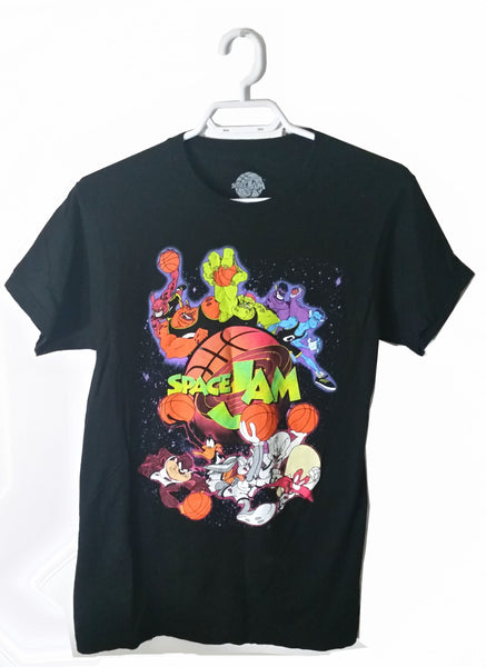 1996 Space Jam Animated Film Size Small S/P Black T-Shirt Cartoon Movie Collectible - Excellent used condition - Basketball Themed
