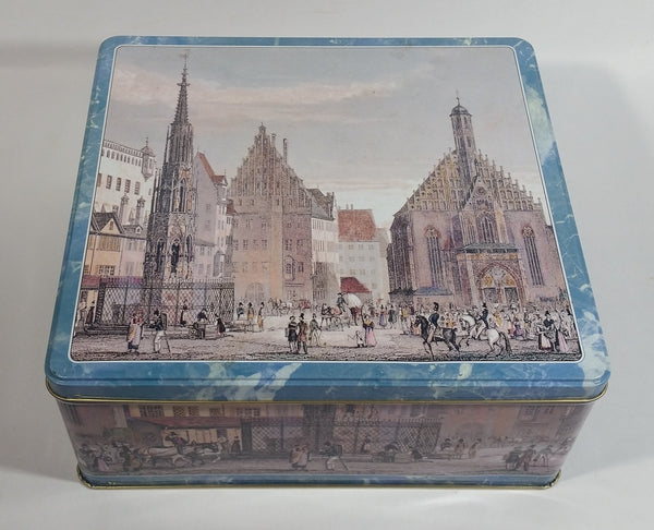 Vintage Blue Trimmed Old English Town Scenery Decorative Metal Tin Container