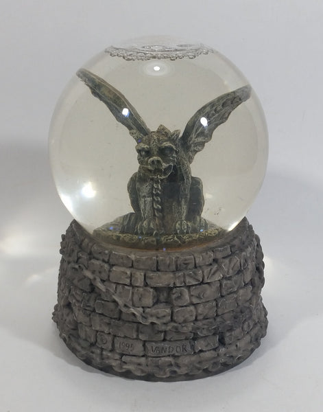 1995 Vandor Chained Gargoyle Snow Globe on Resin Brick Castle Style Base