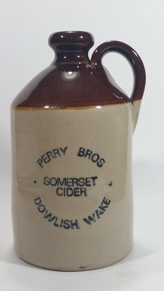 Perry Bros Somerset Cider Dowlish Wake Handmade Derbyshire Stoneware Jug - Treasure Valley Antiques & Collectibles