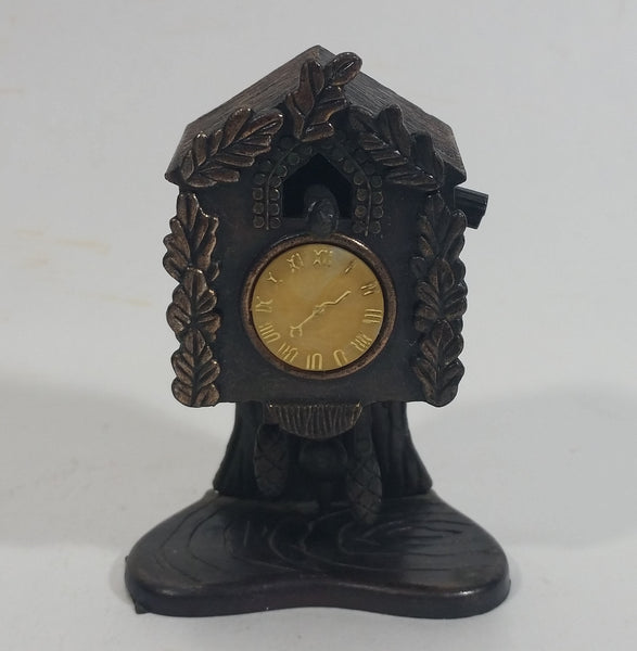 Vintage Miniature Cuckoo Clock Metal Pencil Sharpener Doll House Furniture Size with Moving Parts