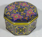 Colorful Ornate Decorative Flower Themed Octagon Shaped Tin Metal Container
