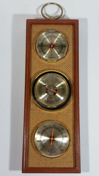 Vintage Taylor Woven Background Rectangular Shaped Wood Cased Weather Station Barometer Thermometer Humidity