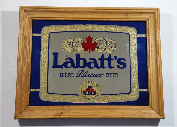 "Vintage Labatt's Pilsner Beer Biere 11"" x 14"" Wooden Framed Advertising Mirror Pub Lounge Bar Collectible"