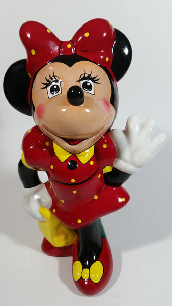 "Vintage 1989 Walt Disney Minnie Mouse Waving Cartoon Character 9"" Tall Hand Painted Ceramic Ornament Signed and Dated"