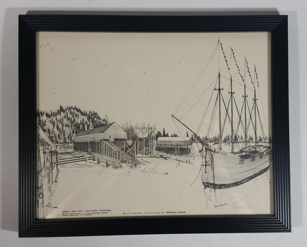 "1979 ""Early 1900's Port Coquitlam Shipyard with 'Coquitlam City'..."" Pen and Ink Drawing Number 5/250 By Norine Evans - Treasure Valley Antiques & Collectibles"