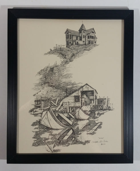 "Vintage 1979 Christopher Paul Bollen ""Retired"" Hand Drawn Art Print"