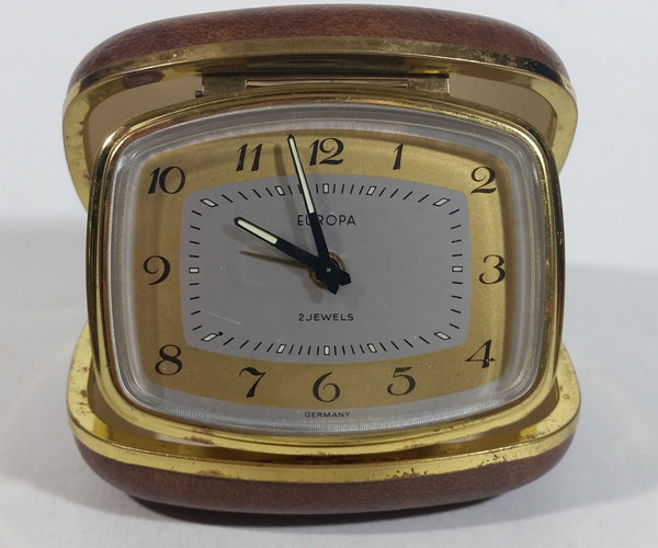 Vintage Europa Germany 2 Jewels Brown Cased Travel Pocket Wind-Up Alarm Clock - Working