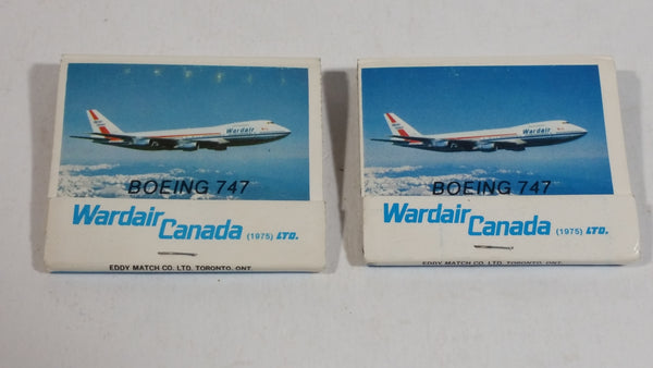 "2 Vintage Wardair Canada Airlines ""Boeing 747"" Airplane Plane Full Match Book  Packs - Aviation Flying Collectible"
