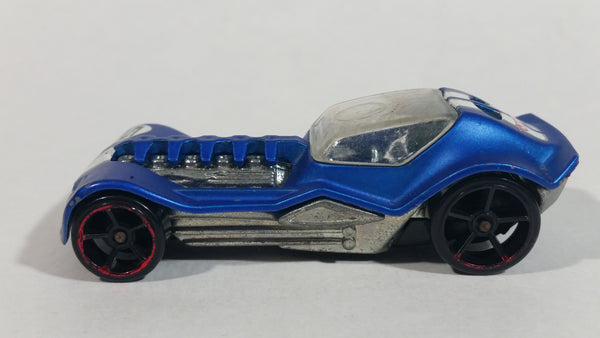 2010 Hot Wheels Track Stars Dieselboy Satin Blue Die Cast Toy Race Car Vehicle