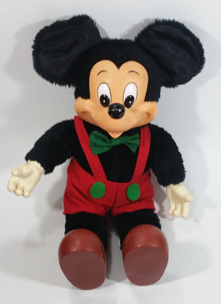Vintage 1981 Disney Applause Mickey Mouse Christmas Themed Cartoon Character Rubber and Plush Stuffed Animal