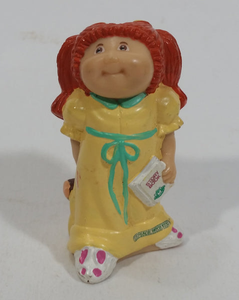 Rare Vintage 1984 O.A.A. Inc Cabbage Patch Kids Dolls Red Hair Yellow Dress Holding Brown Teddy Bear and Story Book PVC Toy Figure Made in Hong Kong