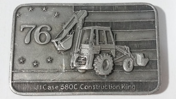 Vintage 1976 J.I. Case 850C Construction King Tractor Heavy Metal Belt Buckle Bicentennial Edition - 05193