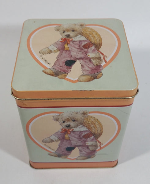 1987 Giordano 'Jessie' Cute Teddy Bear Tin Metal Container Collectible