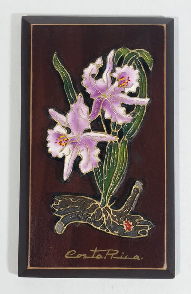 Hecho A Mano Hand Made Purple Flower Themed Costa Rica Wooden Plaque Wall Hanging Travel Souvenir Collectible
