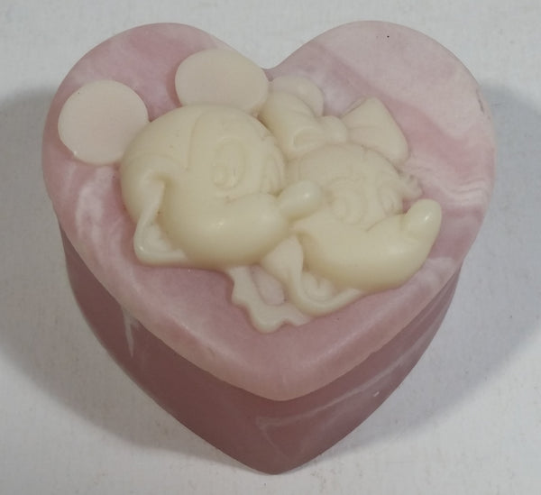 Vintage Incolay Disney Mickey Mouse and Minnie Mouse Pink Heart Shaped Marble Like Lidded Trinket Box Cartoon Collectible