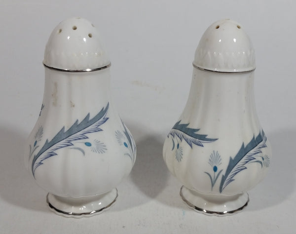 Paragon 'Bridal Leaf' Pattern Blue and White Fine Bone China Salt and Pepper Shakers Set