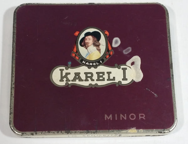 Rare Antique 1935 Karel I Minor 10 Cigar 10 Senorita Dark Red Hinged Tin Metal Container Made in Holland