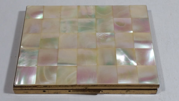 Vintage Beautiful Mother of Pearl Square Tiled Design Gold Toned Metal Hinged Cigarettes Smokes Case Box