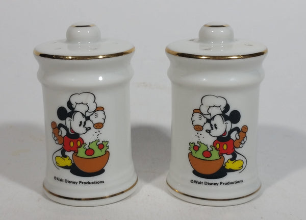 Vintage Walt Disney Productions Mickey Mouse Cooking Themed Fine China Salt and Pepper Shaker Set - Cartoon Collectible