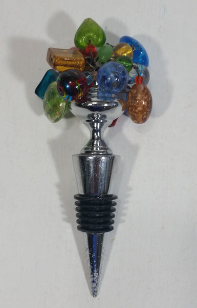 Hand Made Colorful Art Glass Beads Wine Champagne Bottle Stopper Corker Rubber Tipped