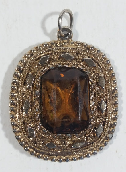 Vintage Brown Smoky Topaz Gemstone In Gold Tone Metal Necklace Pendant