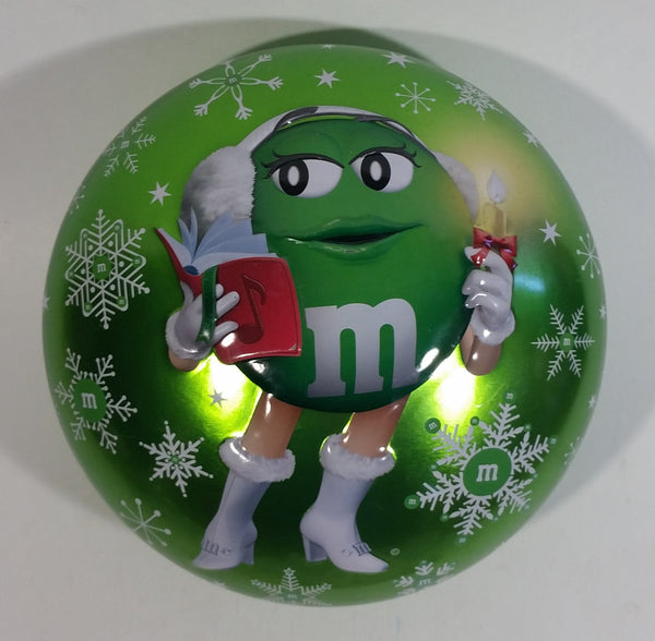 2013 M & M's Chocolate Candies Green Character Christmas Themed Candy Shaped Round Tin Metal Container