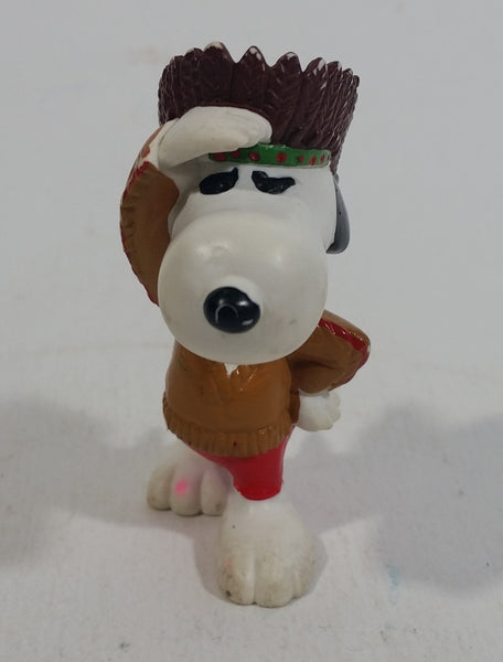 Vintage United Features Peanuts Snoopy Native Indian Aboriginal PVC Toy Figure Made in Hong Kong