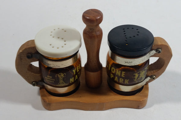 Vintage Yellowstone National Park Glass and Wooden Beer Stein Shaped Salt & Pepper Shakers With Holder Souvenir Travel Tourism Collectible