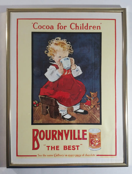 "1995 Cadbury's Bournville The Best Cocoa for Children Muriel Dawson Framed Poster Print 12 1/4"" x 16 1/4"""