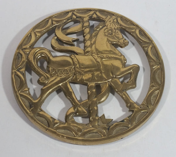 1979 Rubel Brass Carousel Horse Hot Pot Plate Holder Metalware Tableware Collectible