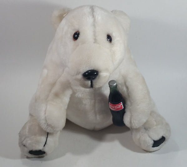 "Collectible 1993 Coca-Cola Coke Soda Pop Beverage White Polar Bear Holding Coca Cola Bottle 14"" Tall Stuffed Animal Plush Toy"