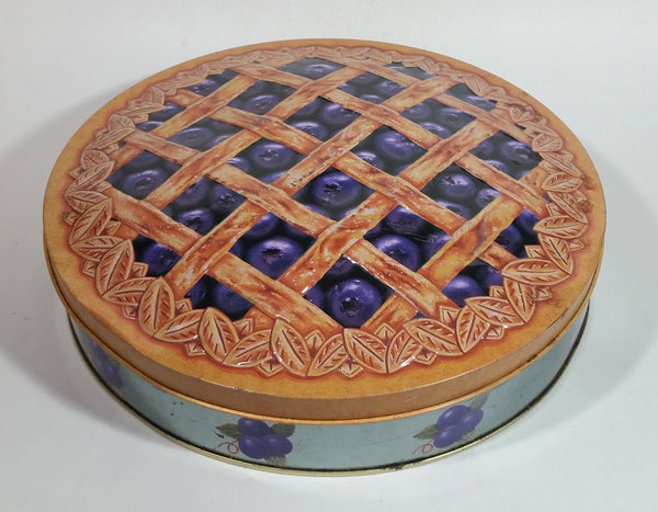 "Collectible Large 10 1/2"" Lattice Blueberry Pie Tin Metal Container"
