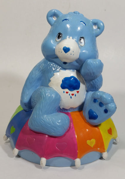 TCFC Care Bears Blue Grumpy Bear Rain Cartoon Character On Rainbow Heart Umbrella Ceramic Coin Bank Collectible