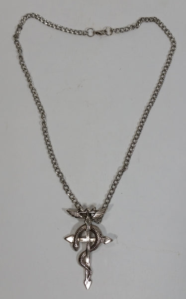 "Full Metal Alchemist Snake on Cross Jewelry Pendant on 20"" Chain Necklace"