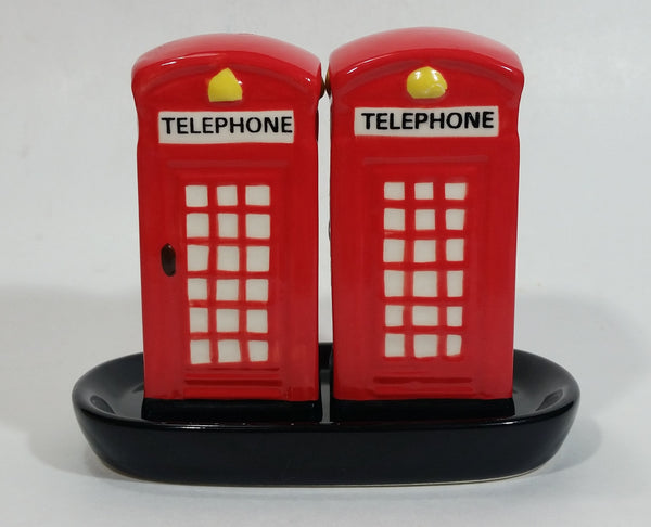 British London England Style Red and White Telephone Booth Salt and Pepper Shakers with Black Ceramic Holder