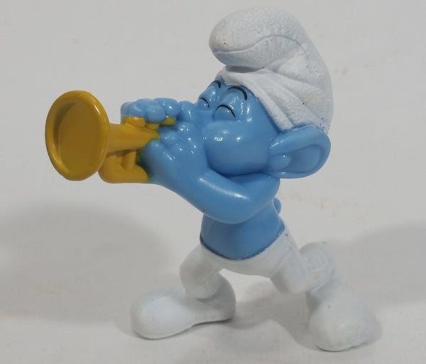 "2013 ""Harmony"" Smurf Playing Trumpet PVC Toy Figure McDonald's Happy Meal"