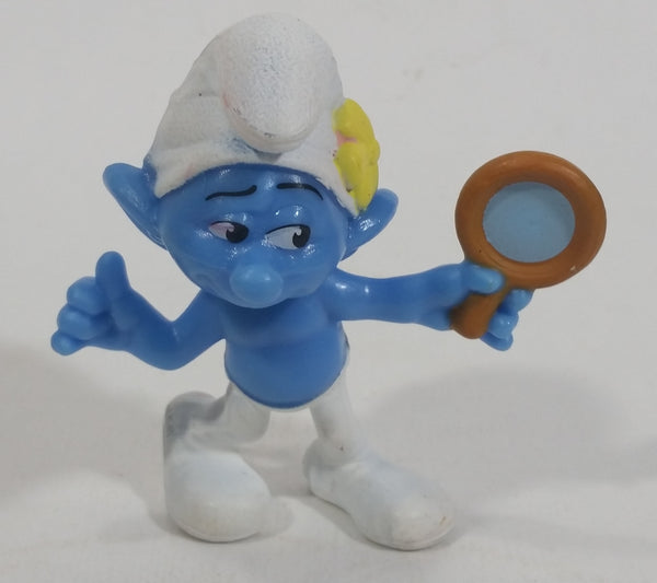 "2013 ""Vanity"" Smurf Holding Hand Mirror PVC Toy Figure McDonald's Happy Meal"