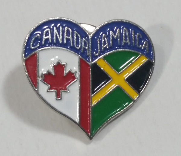 Flags of Canada and Jamaica Heart Shaped Enamel Metal Friendship Pin