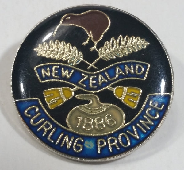 New Zealand Curling Province '1886' Round Enamel Metal Pin