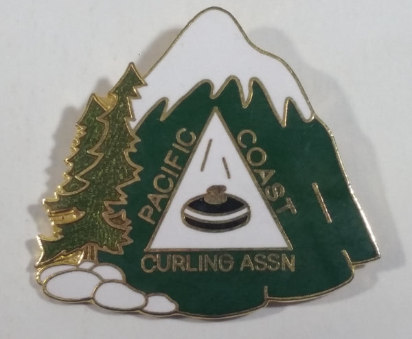 Pacific Coast Curling Association Snow-Capped Mountain with Trees and Rocks Enamel Metal Pin