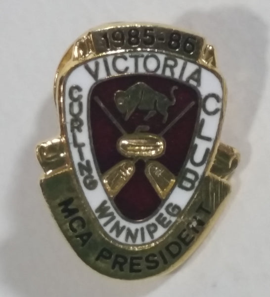 Vintage 1985-86 Victoria Winnipeg Curling Club MCA President Enamel Metal Pin