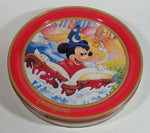 "Walt Disney Disney Land Wizard Mickey Mouse Cartoon Character Red 10"" Round Metal Tin Canister"