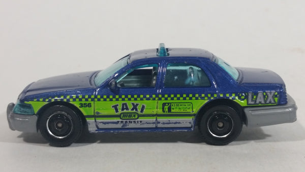 2016 Matchbox City 2006 Ford Crown Victoria LAX Taxi Blue Die Cast Toy Car Vehicle - Los Angeles Airport Taxi
