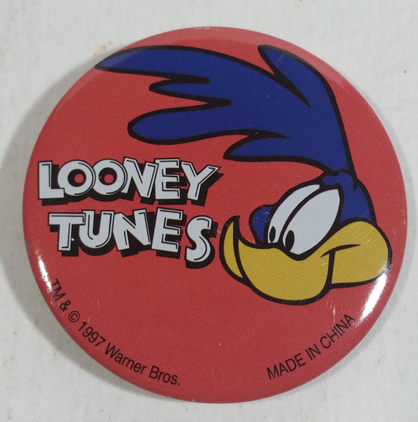 "1997 Warner Bros. Looney Tunes Roadrunner Cartoon Character  1 3/4"" Round Button Pin TV Show Collectible"