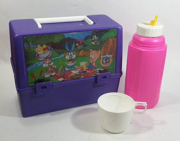 Rare 1991 Warner Bros Tiny Toon Adventures Cartoon Characters Thermos Brand Purple and Pink Lunch Box with Bottle