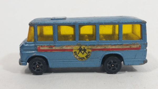 Vintage Corgi Juniors Mercedes-Benz School Bus Light Blue Die Cast Toy Car Vehicle