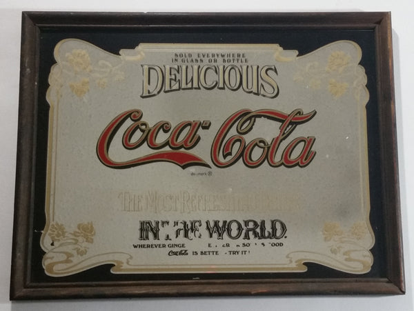 Vintage 1977 Delicious Coca-Cola Coke Soda Pop Drink Wood Framed Mirror Pub Lounge Wall Decor