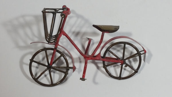 Vintage Handmade Miniature Bicycle with Basket Tin Metal Art Collectible