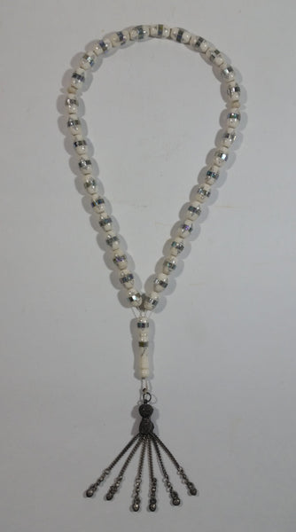 Mother of Pearl Banded Wrapped White Bead Necklace With Hanging Metal Chained Heart Charms